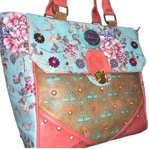 Falcony colorful purse tote faux leather  NWT